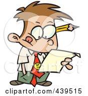 Royalty Free RF Clip Art Illustration Of A Cartoon Business Boy Analyzing A Document