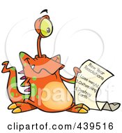 Royalty Free RF Clip Art Illustration Of A Cartoon New Year Resolution Alien by toonaday