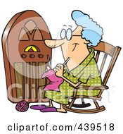 Royalty Free RF Clip Art Illustration Of A Cartoon Granny Knitting By A Radio by toonaday