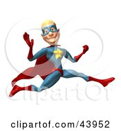 Clipart Illustration Of A Male 3d Superhero Leaping Past And Waving