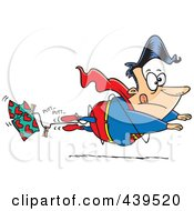 Royalty Free RF Clip Art Illustration Of A Cartoon Super Hero Losing Altitude And Caught In A Clothes Line