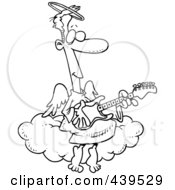 Cartoon Black And White Outline Design Of An Angel Man Playing A Guitar