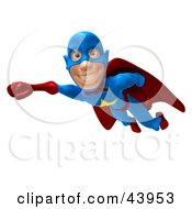 Clipart Illustration Of A Friendly 3d Superhero Smiling And Flying Past