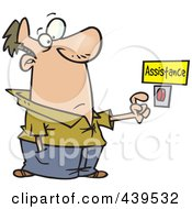 Royalty Free RF Clip Art Illustration Of A Cartoon Man Pushing An Assistance Button by toonaday