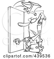 Royalty Free RF Clip Art Illustration Of A Cartoon Black And White Outline Design Of An Anvil Falling On A Businessman In A Doorway