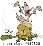 Royalty Free RF Clip Art Illustration Of A Cartoon Lazy Hare Riding On A Tortoise by toonaday