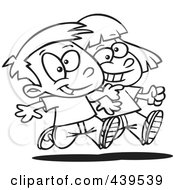 Royalty Free RF Clip Art Illustration Of A Cartoon Black And White Outline Design Of A Boy And Girl Walking Arm In Arm