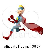 Protective 3d Super Hero Running Forward With His Hands Balled In Fists