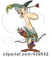 Royalty Free RF Clip Art Illustration Of A Cartoon Robin Hood With An Arrow On His Forehead by toonaday