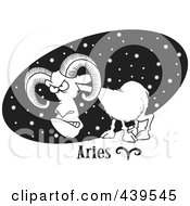 Royalty Free RF Clip Art Illustration Of A Cartoon Black And White Outline Design Of An Aries Ram Over A Black Starry Oval