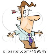 Royalty Free RF Clip Art Illustration Of A Cartoon Arrow Through A Stunned Businessmans Head
