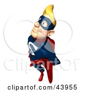 Clipart Illustration Of A Pleased Blond 3d Male Super Hero Smiling Up And To The Left