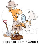 Cartoon Male Archaeologist Inspecting A Bone
