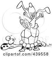 Royalty Free RF Clip Art Illustration Of A Cartoon Black And White Outline Design Of A Lazy Hare Riding On A Tortoise by toonaday