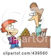 Royalty Free RF Clip Art Illustration Of A Cartoon School Boy Adding To The Pyramid Of Apples On His Teachers Desk by toonaday