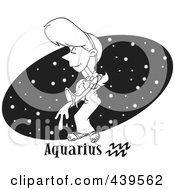 Royalty Free RF Clip Art Illustration Of A Cartoon Black And White Outline Design Of An Aquarius Woman Over A Black Starry Oval