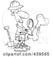 Cartoon Black And White Outline Design Of A Male Archaeologist Inspecting A Bone