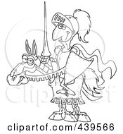 Cartoon Black And White Outline Design Of A Jouster Knight On His Horse
