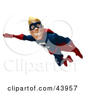 Clipart Illustration Of A Male 3d Superhero Smiling And Flying By