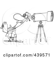 Cartoon Black And White Outline Design Of An Astronomer Taking Notes And Peeking Through A Telescope