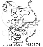 Royalty Free RF Clip Art Illustration Of A Cartoon Black And White Outline Design Of Robin Hood Aiming by toonaday