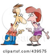 Royalty Free RF Clip Art Illustration Of A Cartoon Couple Engaged In An Argument