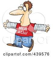 Royalty Free RF Clip Art Illustration Of A Cartoon Accident Prone Man Wearing A Break A Leg Shirt