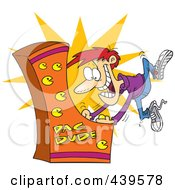 Royalty Free RF Clip Art Illustration Of A Cartoon Man Playing An Arcade Game by toonaday