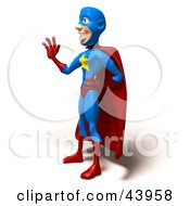 Clipart Illustration Of A Friendly 3d Super Hero Standing And Waving