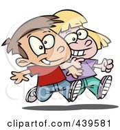 Royalty Free RF Clip Art Illustration Of A Cartoon Boy And Girl Walking Arm In Arm by toonaday