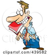 Royalty Free RF Clip Art Illustration Of A Cartoon Approval Seeking Employee With A Book In His Mouth