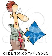 Royalty Free RF Clip Art Illustration Of A Cartoon Businessman Examining Blueprints