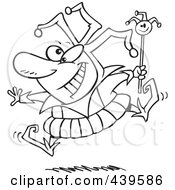 Royalty Free RF Clip Art Illustration Of A Cartoon Black And White Outline Design Of A Happy Fool