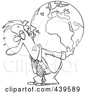 Royalty Free RF Clip Art Illustration Of A Cartoon Black And White Outline Design Of A Businessman Carrying A Burden Globe On His Back
