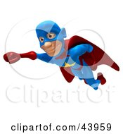 Clipart Illustration Of A Male 3d Superhero Smiling And Flying Slightly Left