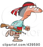 Royalty Free RF Clip Art Illustration Of A Cartoon Native American Man Carrying A Gun