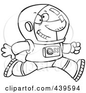 Royalty Free RF Clip Art Illustration Of A Cartoon Black And White Outline Design Of A Running Astronaut by toonaday