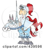 Cartoon Jouster Knight On His Horse