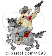 Cowboy Riding Horse While Pointing And Shooting Gun Into The Air Clipart