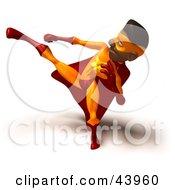 African American Male 3d Super Hero Kicking High