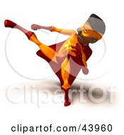 Clipart Illustration Of An African American Male 3d Super Hero Kicking High