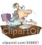 Royalty Free RF Clip Art Illustration Of A Cartoon Businessman Calling Customer Service by toonaday