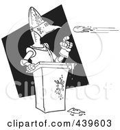 Royalty Free RF Clip Art Illustration Of A Cartoon Black And White Outline Design Of Tomatoes Flying Towards A Knight by Ron Leishman