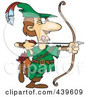 Royalty Free RF Clip Art Illustration Of A Cartoon Robin Hood Aiming by toonaday