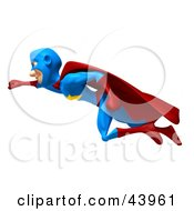 Male 3d Superhero Smiling And Flying Left