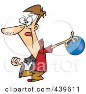 Royalty Free RF Clip Art Illustration Of A Cartoon Man Approaching A Bowling Lane by toonaday
