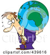 Royalty Free RF Clip Art Illustration Of A Cartoon Businessman Carrying A Burden Globe On His Back