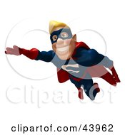 Clipart Illustration Of A Happy 3d Superhero Smiling And Flying Forward