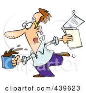 Royalty Free RF Clip Art Illustration Of A Cartoon Editor Running With Coffee And Documents by toonaday