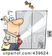 Royalty Free RF Clip Art Illustration Of A Cartoon Confused Businessman Waiting By An Elevator by toonaday